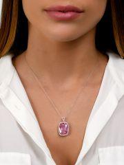 שרשרת זהב לבן KATE משובצת יהלומים  עם אבן רוז קווארז