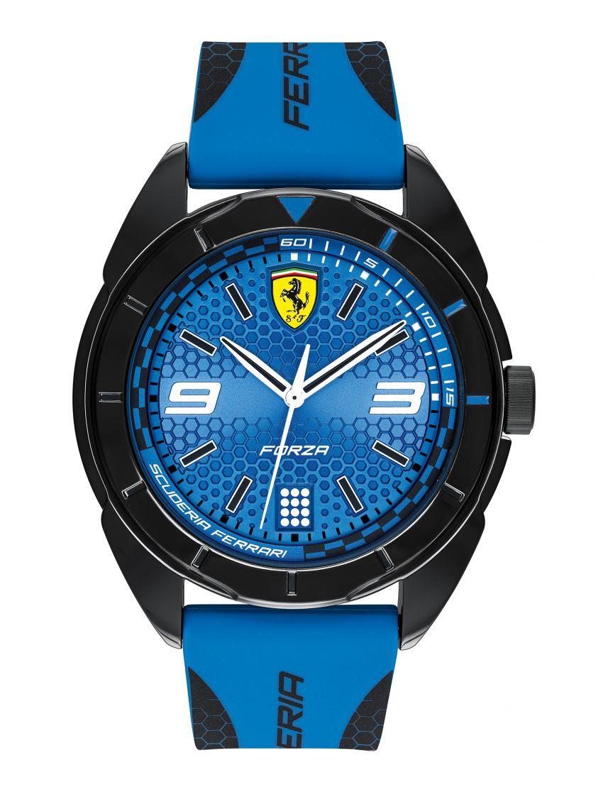 שעון יד לגבר FERRARI רצועת סיליקון כחולה קולקציית FORZA דגם 830518