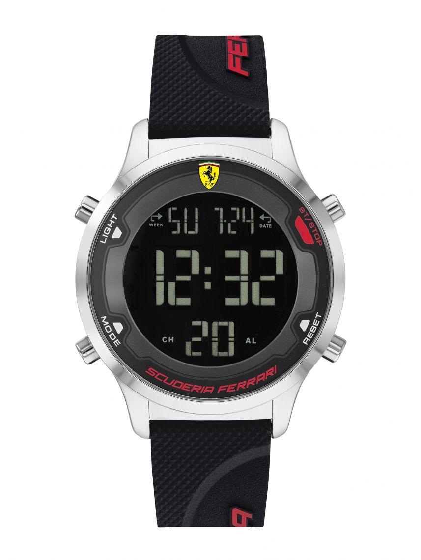 שעון יד דיגיטלי לגבר FERRARI רצועת סיליקון שחורה דגם 830756