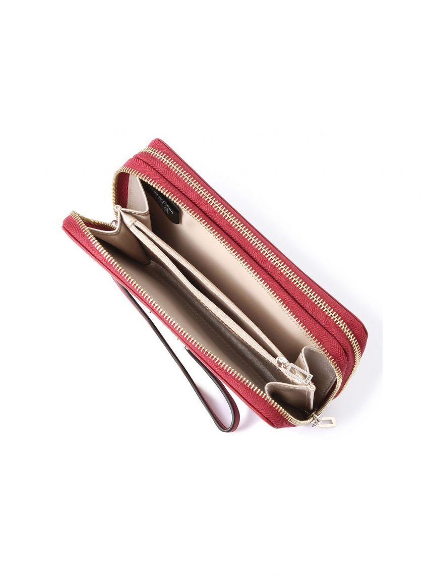 ארנק דמוי עור GUESS לאישה בצבע בורדו קולקציית ALBY דגם DF745568-MER