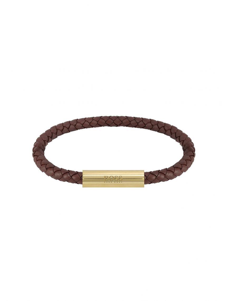צמיד עור חום כהה סוגר מגנט זהב HUGO BOSS לגבר דגם 1580151