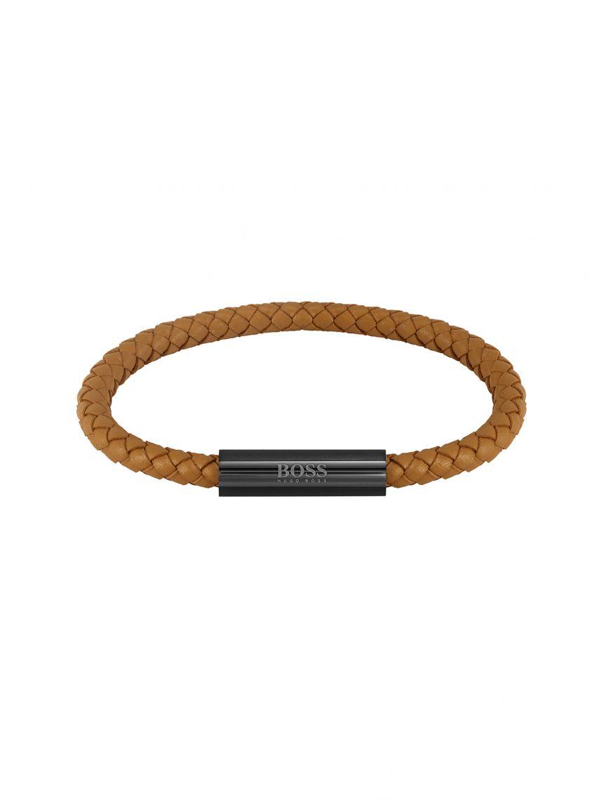 צמיד עור חום סוגר מגנט שחור HUGO BOSS לגבר דגם 1580153