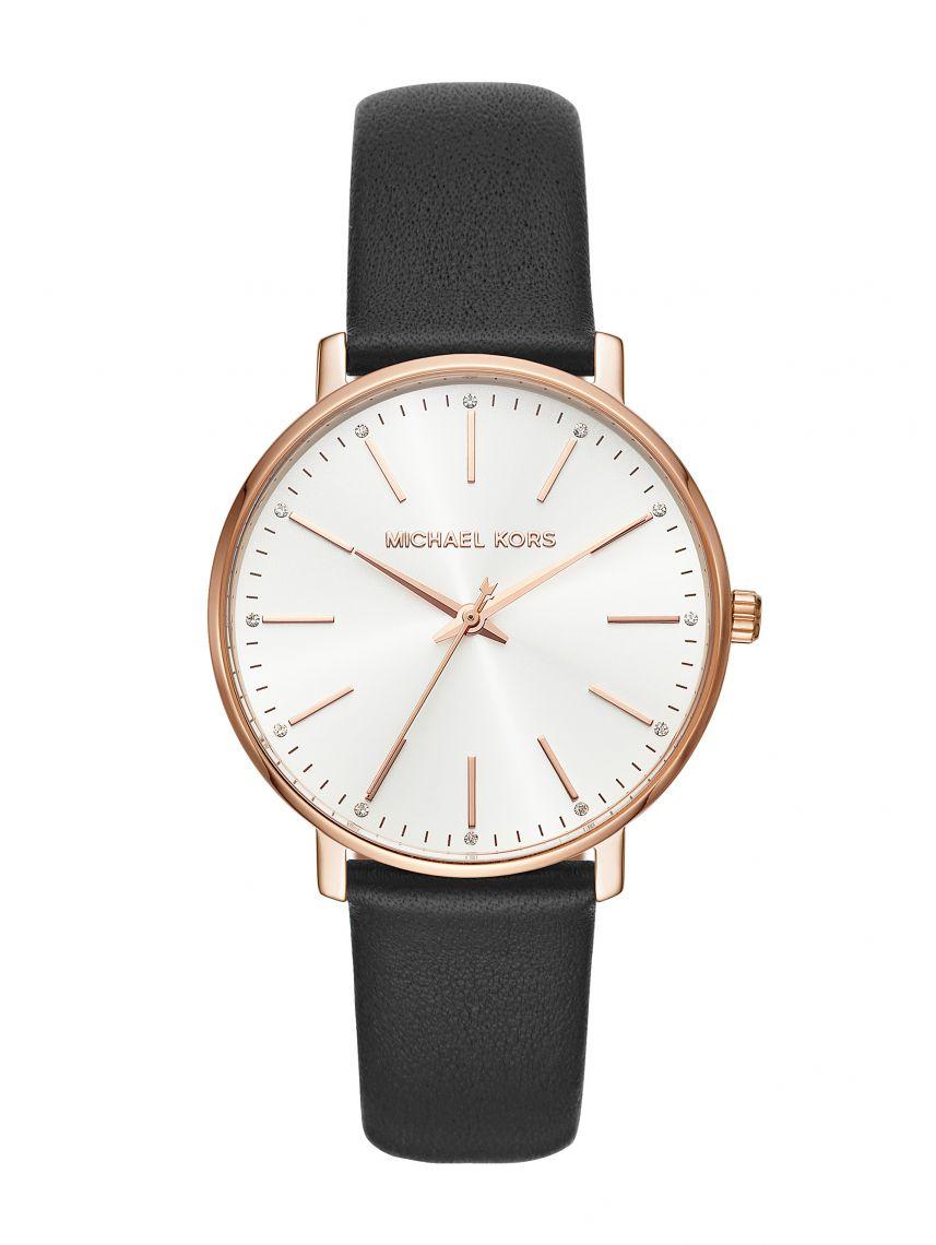 שעון לאישה MICHAEL KORS רצועת עור בצבע שחור קולקציית Pyper דגם MK2834