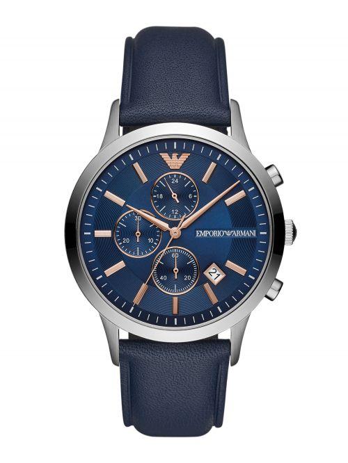 שעון יד EMPORIO ARMANI לגבר עם רצועת עור קולקציית RENATO דגם AR11216