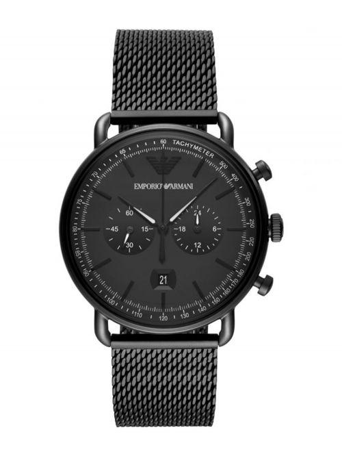 שעון יד EMORIO ARMANI לגבר עם רצועת מש בצבע שחור דגם AR11264