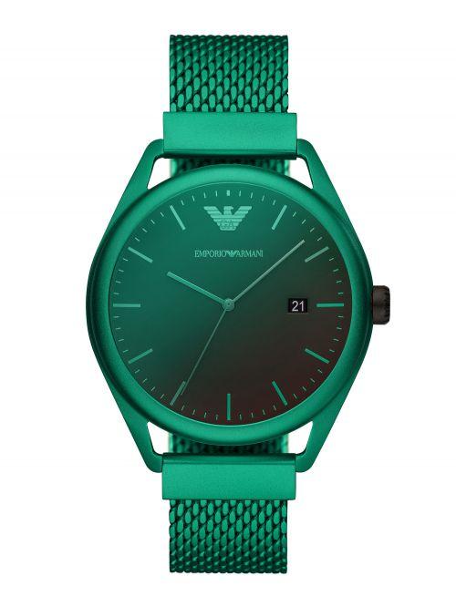 שעון יד EMPORIO ARMANI לגבר עם רצועת מש בצבע ירוק דגם AR11326
