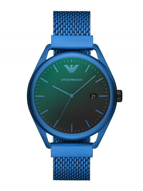 שעון יד EMPORIO ARMANI לגבר עם רצועת מש בצבע כחול דגם AR11326