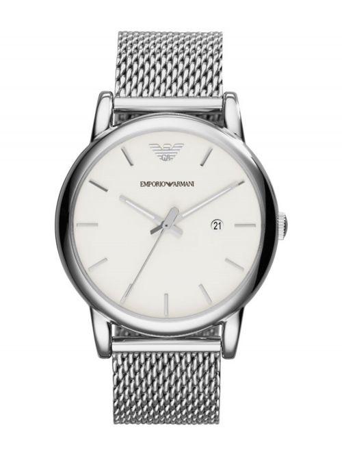 שעון יד EMPORIO ARMANI לגבר עם רצועת מש בצבע כסוף דגם AR1812
