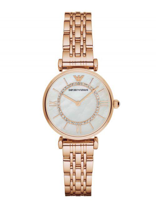 שעון יד EMPORIO ARMANI לאישה עם רצועת מתכת בצבע רוז-גולד דגם AR1909