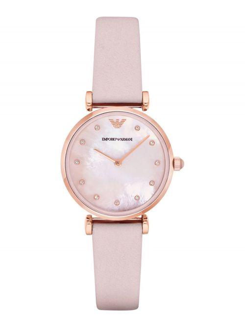 שעון יד EMPORIO ARMANI לאישה רצועת עור ורודה דגם AR1958