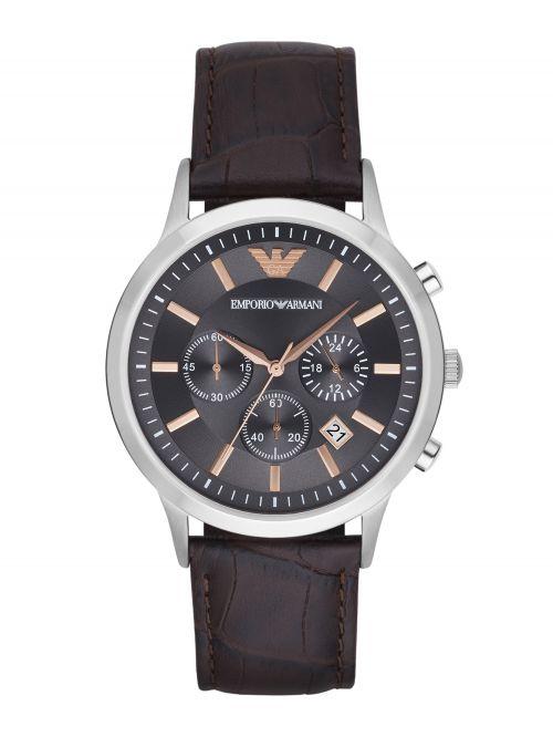 שעון יד EMPORIO ARMANI לגבר עם רצועת עור קולקציית RENATO דגם AR2513