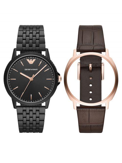 סט שעון יד EMPORIO ARMANI עם רצועה להחלפה דגם AR80021