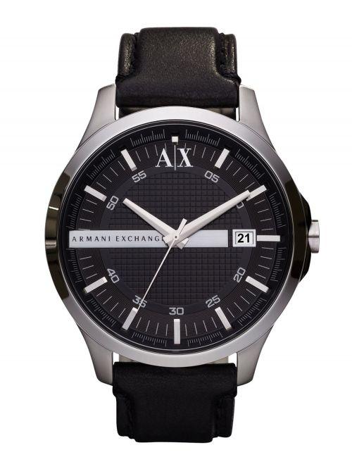 שעון יד ARMANI EXCHANGE לגבר עם רצועת עור שחורה דגם AX2101
