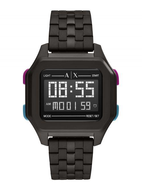 שעון יד דיגיטלי ARMANI EXCHANGE דגם AX2955 רצועת מתכת שחורה דגם AX2952