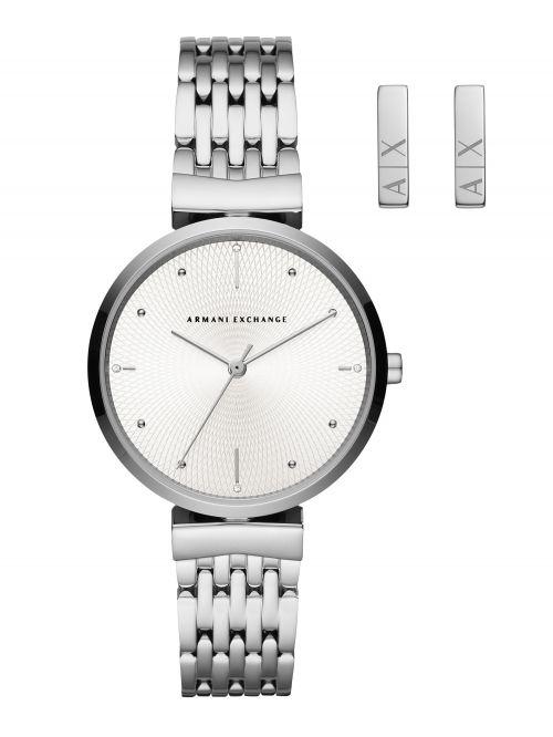 סט שעון ועגילים ARMANI EXCHANGE כסוף דגם AX7117