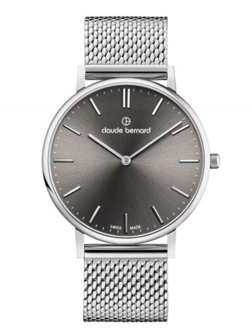 שעון יוניסקס CLAUDE BERNARD קולקציית SLIM LINE  בצבע כסף דגם 202193MGIN