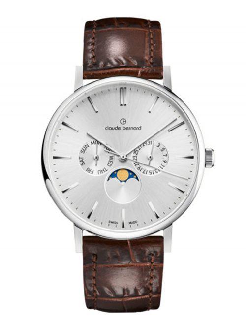 שעון  יוניסקס CLAUDE BERNARD קולקציית  Slim line רצועת עור דגם 400043AIN