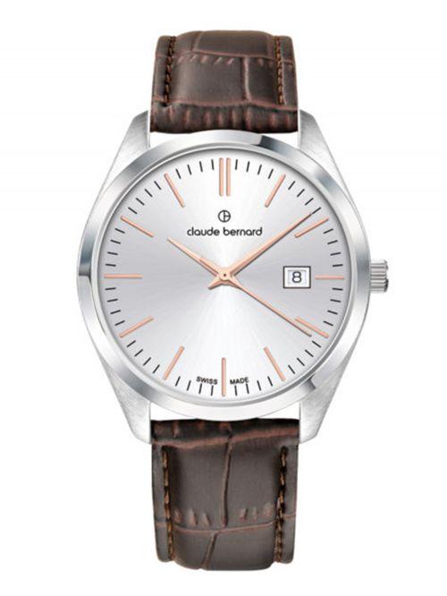 שעון  לגבר CLAUDE BERNARD קולקציית  Classic רצועת עור דגם 702013AIR