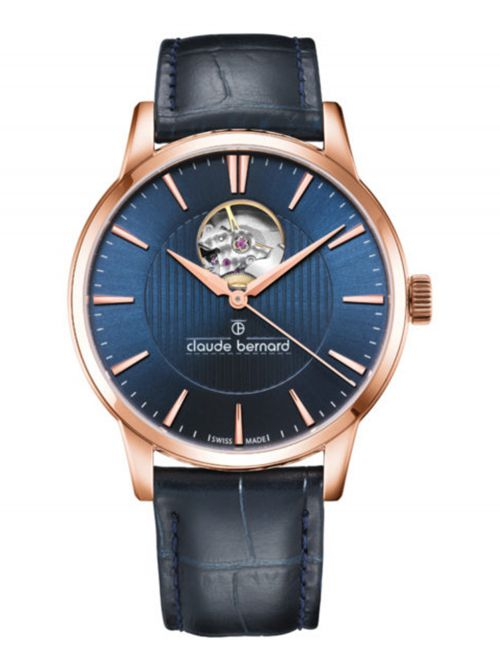 שעון  לגבר CLAUDE BERNARD קולקציית  Classic רצועת עור דגם 8501737RBUIR