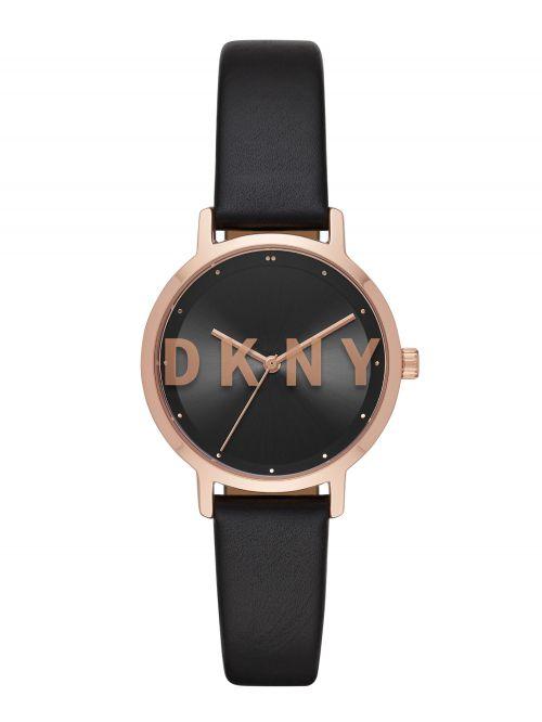 שעון DKNY  נשים קולקציית  Three-Hand Black Polyurethane THE MODERNIST