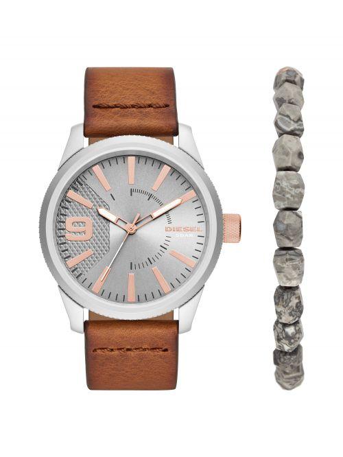 סט שעון וצמיד DIESEL לגבר עם רצועת עור דגם DZ1888