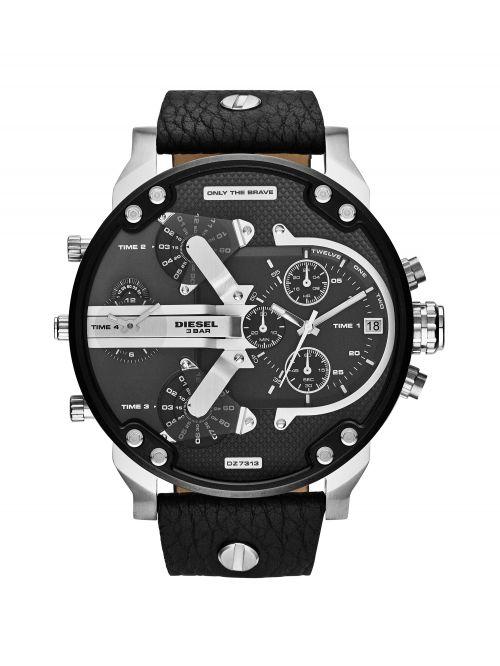 שעוןן יד DIESEL לגבר עם רצועת עור שחורה  דגם DZ7313