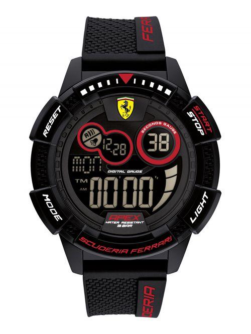 שעון  דיגיטלי לגבר FERRARI רצועת סיליקון שחורה דגם 0830856