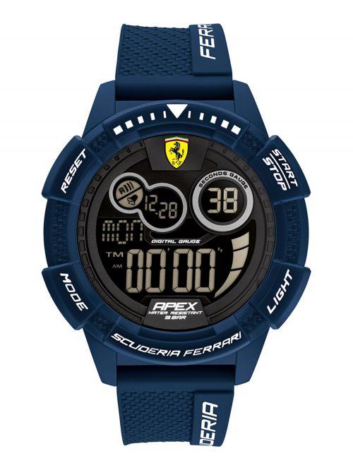 שעון  דיגיטלי לגבר FERRARI רצועת סיליקון כחולה דגם 0830858