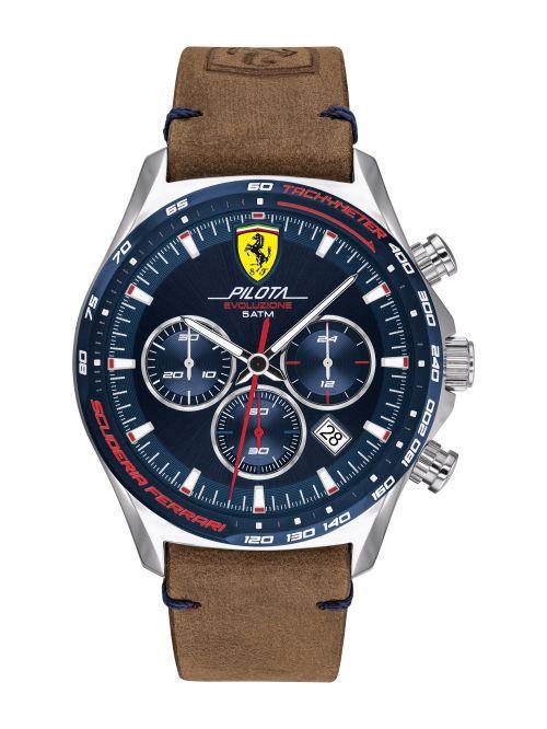 שעון יד לגבר FERRARI רצועת עור חומה דגם 830711