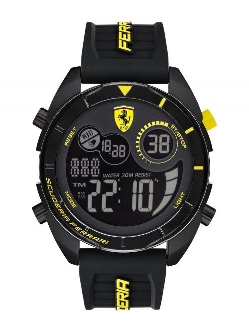 שעון יד דיגיטלי FERRARI רצועת סיליקון שחורה דגם 830744