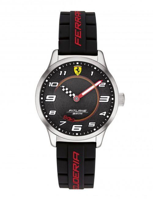שעון יד לנער FERRARI רצועת סיליקון  שחורה קולקציית PILTANE דגם 860012