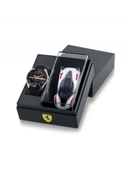 סט שעון יד ומכונית FERRARI רצועת סיליקון שחורה דגם 870045