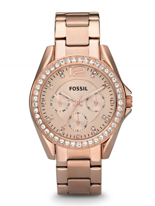 שעון FOSSIL לאישה בצבע רוזגולד קולקציית RILEY דגם ES2811