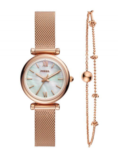 סט שעון וצמיד FOSSIL לאישה קולקציית CALIRE בצבע רוז-גולד דגם ES4443SET