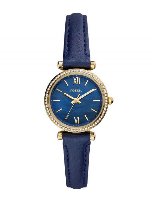 שעון יד נשים FOSSIL רצועת עור בצבע כחול דגם ES5017