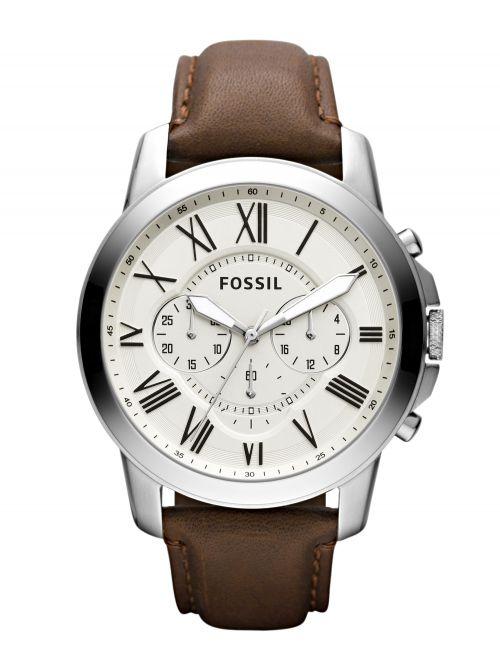 שעון יד FOSSIL לגבר עם רצועת עור קולקציית GRANT דגם FS4735IE