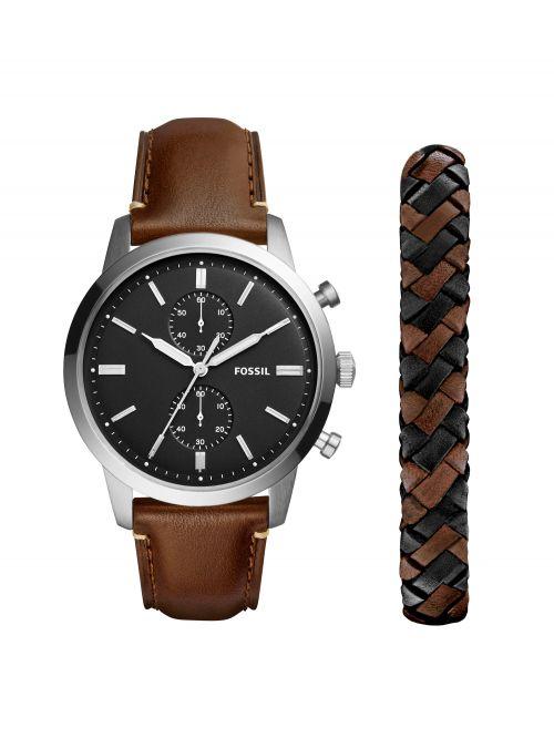 סט שעון וצמיד FOSSIL לגבר עם רצועת עור דגם FS5394SET