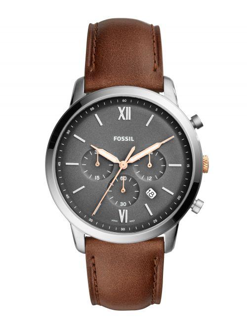 שעון יד FOSSIL לגבר עם רצועת עור קולקציית NEUTRA דגם FS5408