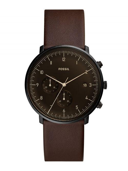 שעון יד FOSSIL לגבר עם רצועת עור דגם FS5485
