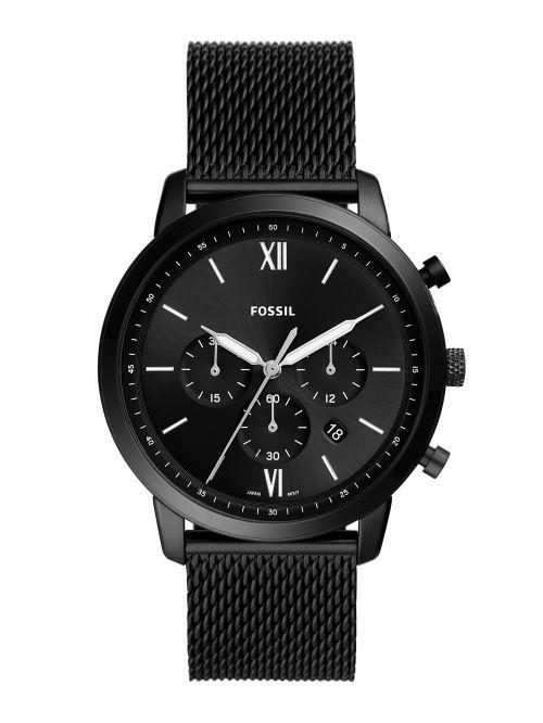 שעון יד FOSSIL לגבר עם רצועת מש שחורה דגם FS5707