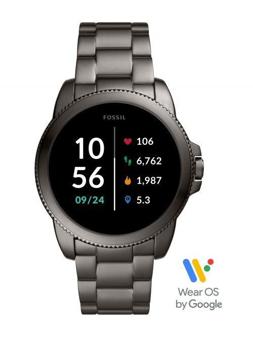שעון חכם לגבר FOSSIL דור 5E עם רצועת מתכת דגם FTW4049