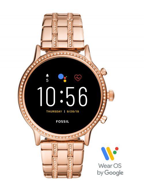 שעון חכם FOSSIL דור 5 לאישה עם רצועת מתכת דגם FTW6035