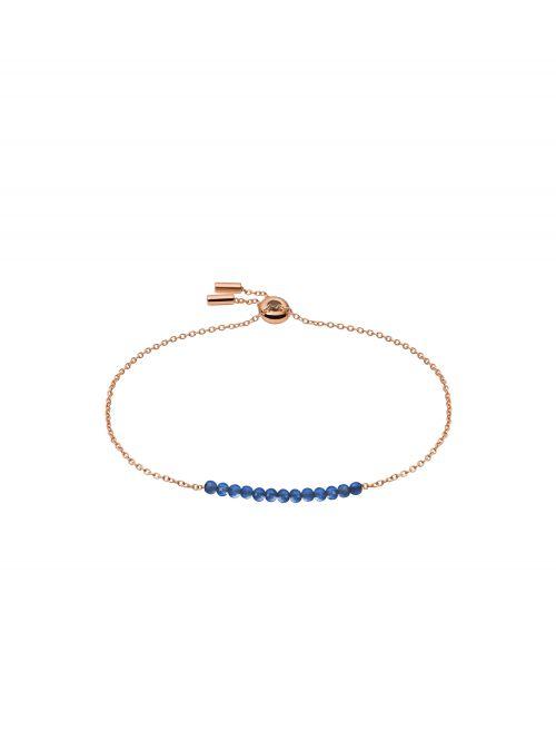 צמיד זהב אדום וחרוזים כחולים FOSSIL לאישה דגם JF03651791