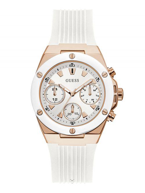 שעון יד GUESS לאישה עם רצועת סיליקון  בצבע לבן קולקציית Athena דגם GW0030L3