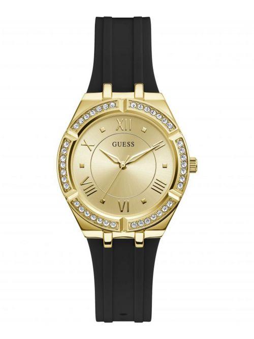 שעון GUESS לאישה רצועת סיליקון שחורה דגם GW0034L1