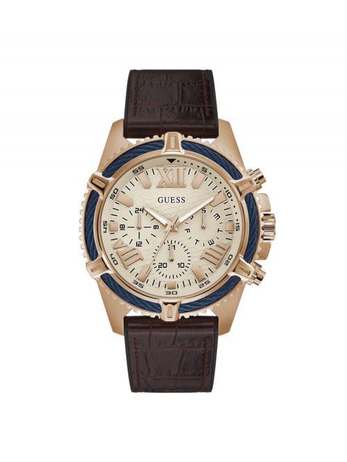 שעון GUESS עם רצועת עור לגבר קולקציית SPORTY דגם GW0053G4