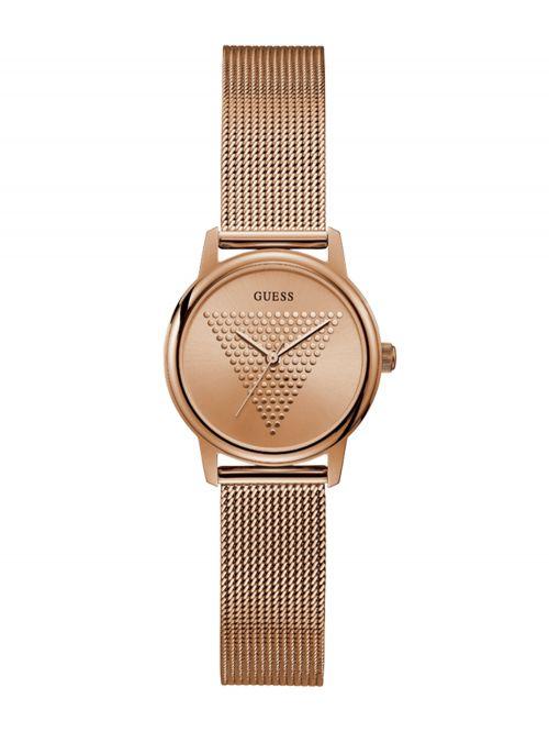 שעון יד GUESS לאישה בצבע זהב אדום קולקציית MICRO IMPRINT דגם GW0106L3