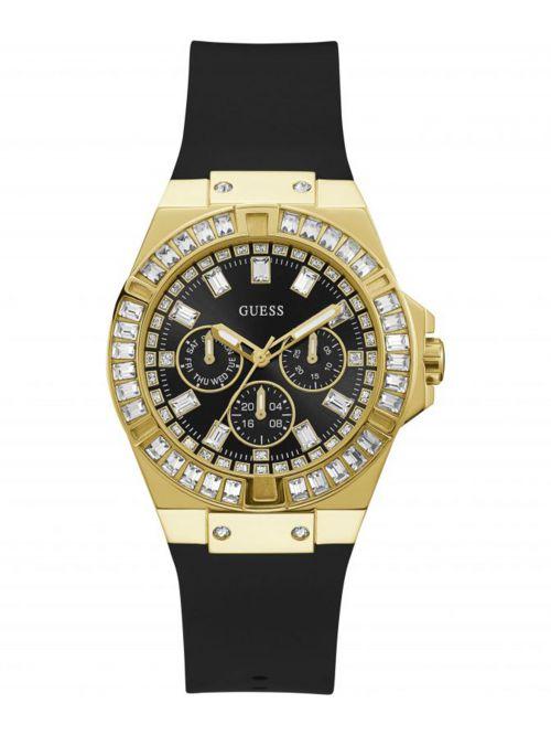 שעון יד GUESS לאישה עם רצועת סיליקון  בצבע שחור קולקציית Venus דגם GW0118L1