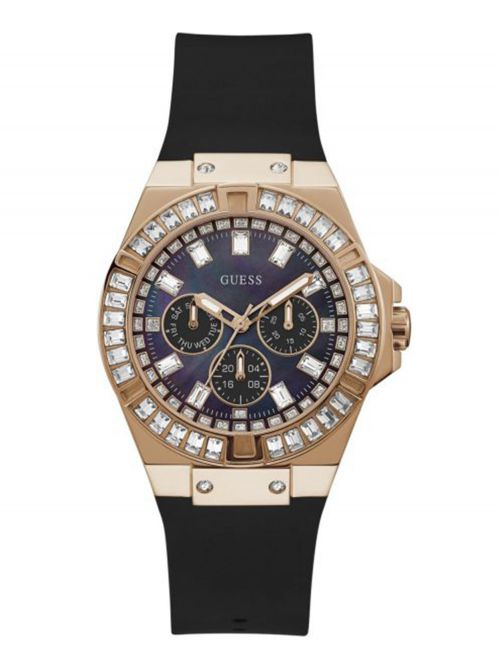 שעון יד GUESS לאישה עם רצועת סיליקון בצבע שחור קולקציית VENNUS דגם GW0118L2