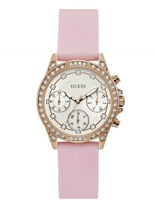 שעון יד GUESS לאישה עם רצועת סיליקון  בצבע ורוד קולקציית GEMINI דגם GW0222L3